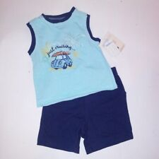 Vitamin Kids Outfit 12 Months Boys Tank Top & Shorts Blue Just Cruising