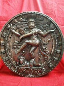 Natraj Shiva Sculpture Temple Wall Panel Hindu God Nataraj Wooden Murti Statue