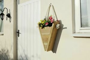 Rope Triangle Hanging Basket Wall Fence Reverse Decking Wooden Planter Display