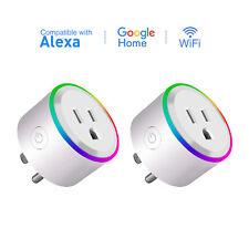 2-Pack Wifi Smart Plug Outlet Socket LED Light Alexa Google Home Remote Control