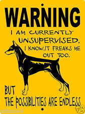 "Doberman Pinscher Dog Sign, 9""x12"" Aluminum,Guard Dog Sign,Security,Gate,Wus1Dp"