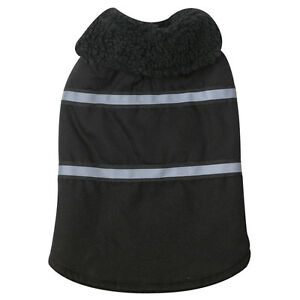Zack & Zoey Canvas Berber Dog Puppy Jacket Coat w/reflector stripes BLACK XXS