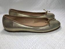 J & M Davidson England Women's Gold Metallic Ballet Flats Size-38