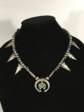 STUNNING OLD PAWN SQUASH BLOSSOM NECKLACE NAVAJO TURQUOISE 925 STERLING 60s