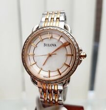 BULOVA Ladies Watch Swarovski crystals Two Tone UK Seller RRP £250 (943)