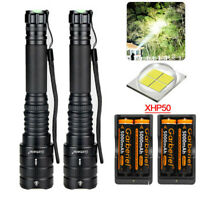 Tactical 300000LM  XHP50 LED 5Modes 18650 Powered Zoomable Flashlight Torch Lamp