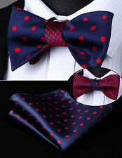 BE04RS Blue Red Dot Geometric Double Side Bowtie Men Silk Self Bow Tie hanky set