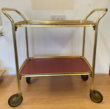 Vintage Retro Two Tier Hostess Tea Trolley With Red Trays (D1)