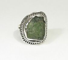 Ring Moldavit U 55 / US 7.2 / Uk O / 925 Sterling Silber / Moldavite