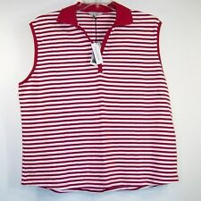 NWT OVS Oviesse 2X Top Red White Stripe Knit Pullover 100% Cotton