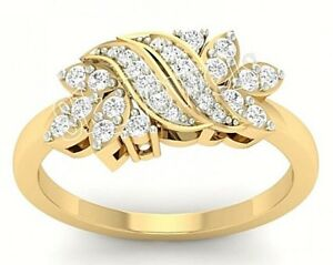 CHRISTMAS 0.85ctw NATURAL ROUND DIAMOND 14K SOLID YELLOW GOLD CLUSTER RING