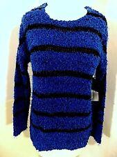 NEW Relativity Scoop Neck Pullover Sweater Sz S Small L/S Blue/Black Stripe  NWT