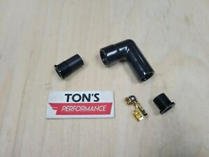 8mm Black Ignition High Temp Ceramic Spark Plug Wire Boot Terminal Kit 90-Deg