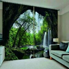 3D Cave Waterfall Window Curtain Forest Living Room Bedroom Curtains Drapes