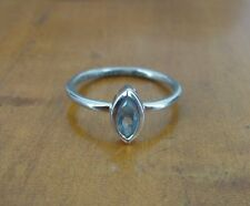 Silver 925 Ring Size 6 1/4 Blue Light Marquise Shape Stone Sterling