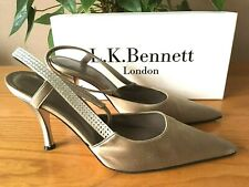 L.K. Bennett Gris Topo Raso Rhinestone Tribunal Zapatos UK 5.5 EU 38.5 RRP £ 119 nupcial