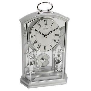 Rhythm Ornate Silver Silent Pendulum Mantel Carriage Clock Roman Numerals Quartz
