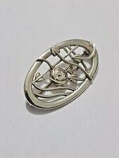 Gorgeous Sparkling Solid Silver Designer Art Nouveau Brooch 925 Solid Silver