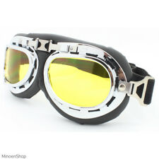 WWII Style German Motorcycle Chopper Biker Pilot Goggles Glasses Sunglasses 40's Clear Lens