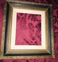 Vintage Wood Brown Ornate Gesso Frame With Linen Inlay 8x10 Photo Capacity.