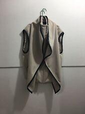 BeBe ladies size medium gorgeous leather trim zipper front sleeveless jacket