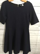H & M Divided Navy Blue Dress Juniors Size 14 Zipper In Back L1
