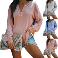 Women Long Sleeve V Neck Button T Shirt Casual Solid Blouse Loose Fit Tunic Tops
