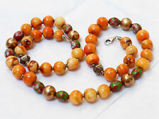 "VINTAGE CHINESE APPLE CORAL 11mm BEAD NECKLACE, 22"" LONG, 56g, STERLING CLASP"