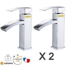 2 x Robinets Lavabo Mitigeur Salle de bain Cuisine Évier Vasque Laiton&Flexibles