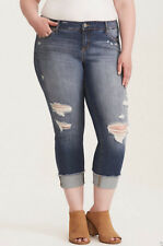 Torrid Size 22 Premium Stretch Cropped Boyfriend Jeans with Destruction Clover