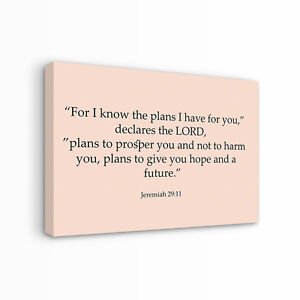 Jeremiah 29:11 Canvas Print   LARGE WALL ART   bible christianity proverb qoute