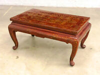 Early 20th Century Chinese Red and Gold Lacquered Handpainted Low Table