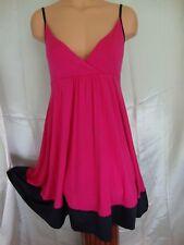 Express Empire Waist Flounce Dress Medium Pink Black Satin Hem Spaghetti Strap