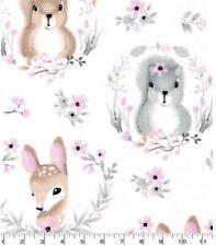 Cotton Nursery Flannel Fabric Bty (Yd) - Hazel Woodland Animals Portrait