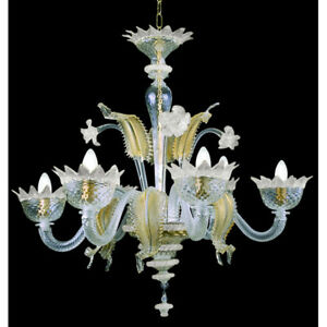 Muranese chandelier in Murano glass 6 lights crystal white and gold