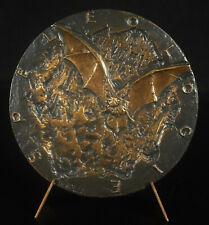 Médaille Spéléologie 1967 spéléologue grotte stalagmite Chauve-souris Bat animal