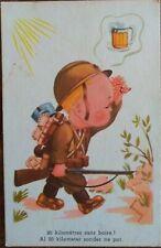 BELGIAN SOLDIER Little Boy Rifle Artist Signed 20km to Beer PC Belgium c1930s