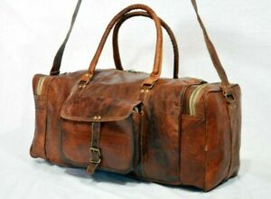 """New 24"""" Big Large Duffel Bag Travel Gym Sports Overnight Weekend Leather Bag"""
