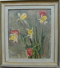 Barbara Neuman, Stillleben mit Tulpen und Osterglocken, datiert 1944