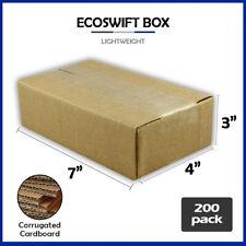 200 7x4x3 Ecoswift Brand Cardboard Box Packing Mailing Shipping Corrugated