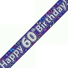 9ft Banner 60th Birthday Streamers Purple Holographic