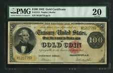FR1212 $100 1882 GOLD NOTE PMG 20 VF+ RARE (ONLY 53 RECORDED) WLM9488