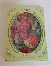 Amia Studios Hummingbirds Oval Stained Glass Window Hanging Suncatcher