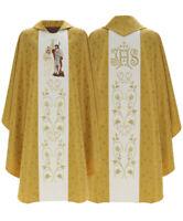 Gold Gotische Kasel Minko Johannes der Täufer mit Stola , Messgewand 402-G16 de