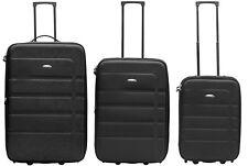 Packenger Easy Traveller Koffer 3er-Set Trolley Schwarz 2 Rollen Gummibereifung