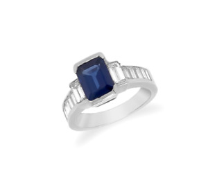Ring Platinum Blue Sapphire 1,50cts and Diamonds 0,80cts