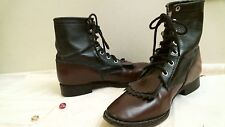 LAREDO COWBOY BOOTS 2046 size 3 1/2 D Western BROWN & BLACK LEATHER KILTIE