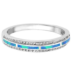 Stackable Blue Fire Opal Inlay Half Eternity Fashion Sterling Silver Ring - 4mm