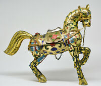 Vintage Chinese Cloisonne Horse Statue - 8.5 Inches Tall - 🐘