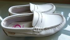 Pablosky Girls Shoes Size 11 29 White Loafers Soft Leather Summer Casual
